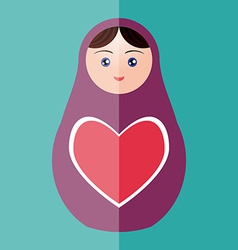 Russian doll matryoshka with heart on teal vector