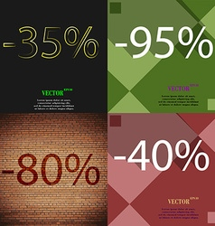95 80 40 icon set of percent discount on abstract vector