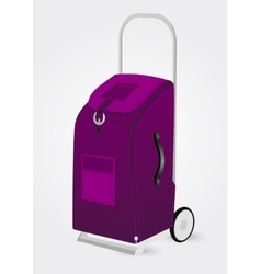Purple trolley suitcase vector