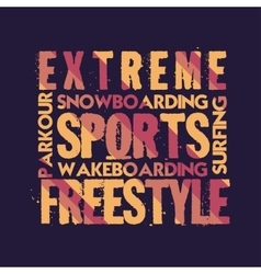T-shirt extreme sports design fashion vector image