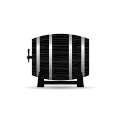 Barrel wooden strong in black color vector