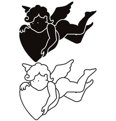 Cartoon angel silhouette and outline vector image vector image
