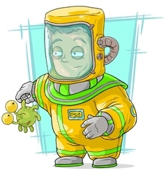 Cartoon man in protective suit with alien vector image vector image