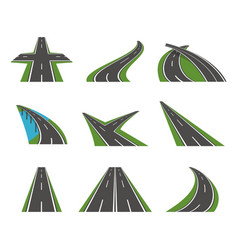 Cartoon perspective curved road icons set vector