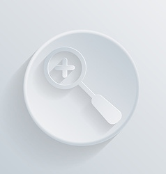 Circle icon with a shadow magnifier increase vector