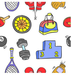 Collection of sport equipment pattern style vector
