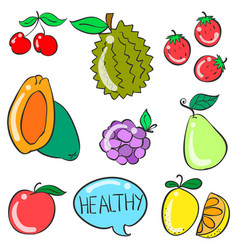 collection stock of fruit doodle style vector image vector image