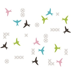 Colored birds silhouette seamless pattern vector image