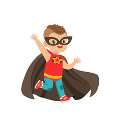 Comic brave kid with trendy haircut in colorful vector