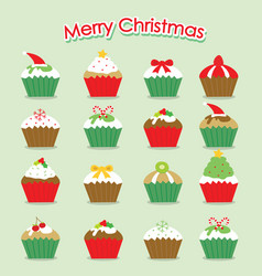 cupcake cartoon merry christmas vector image vector image