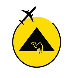 Egyp pyramids with camel and airplane vector