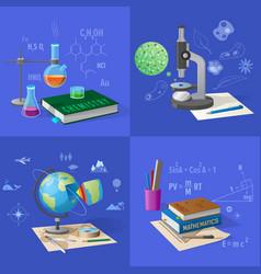equipment for subjects studies set vector image