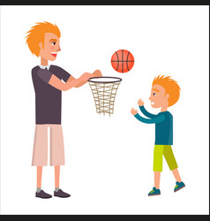 father playing basketball with his adorable son vector image