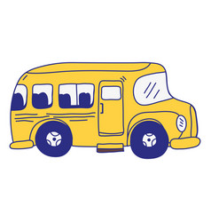 full color vehicle school bus education vector image