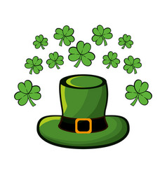 Green hat accessory st patrick with clovers vector