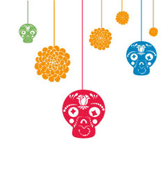 Hanging halloween decorations with copy space vector image