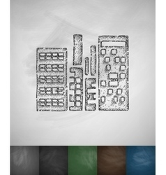 high-rises icon Hand drawn vector image vector image