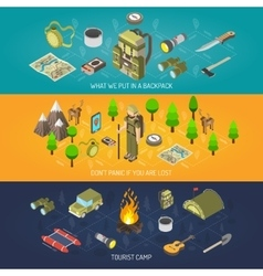 Hiking banner equipment and tourist camp vector