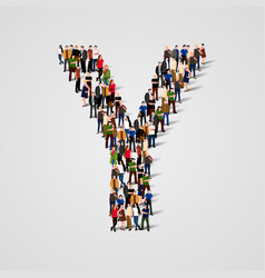 Large group of people in letter y form vector