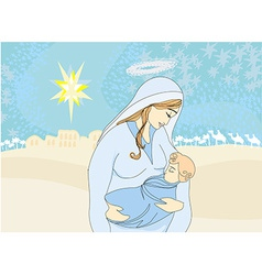 Madonna and child Jesus vector image vector image