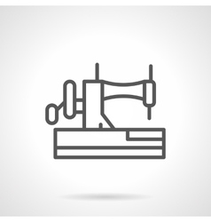 Manual sewing machine black line icon vector
