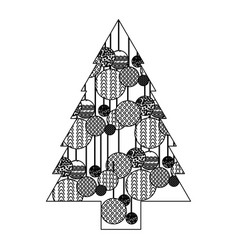 Monochrome silhouette of christmas tree with vector