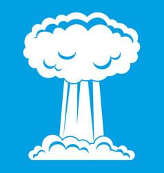 Mushroom cloud icon white vector