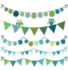 Owl bunting banner vector