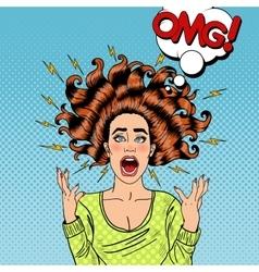 Pop Art Aggressive Furious Screaming Woman vector image