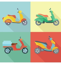 Scooter icon flat set vector image vector image