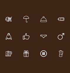 set of 12 editable trade outline icons includes vector image vector image