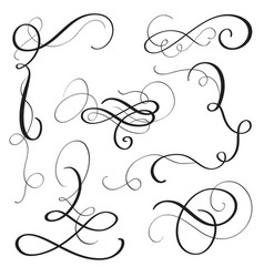 Set of vintage flourish decorative art calligraphy vector