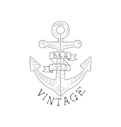 Ship anchor vintage sea and nautical symbol hand vector