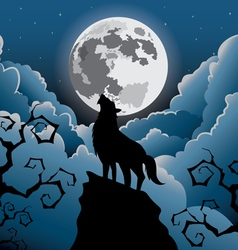 Silhouette Wolf howling at the moon vector image