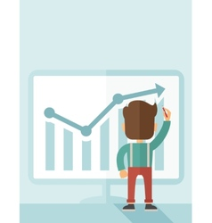 Successful businessman with a chart going up vector