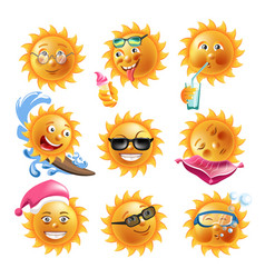 Sun smiles summer holiday vacation cartoon vector