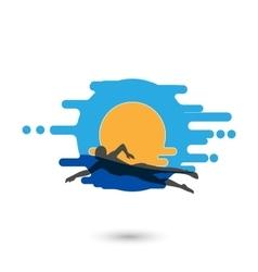 Swimmer logo design element vector