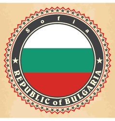 Vintage label cards of Bulgaria flag vector image vector image