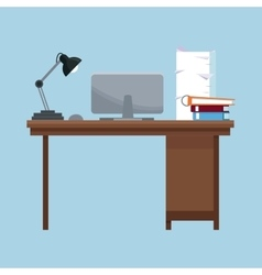 workplace desk lamp laptop books documents pile vector image