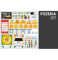 Big detailed pizzeria interior flat icons set vector
