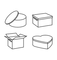 Carton box package delivery icon set vector
