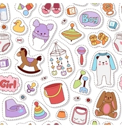 Baby icons seamless pattern vector