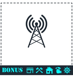 Antenna icon flat vector