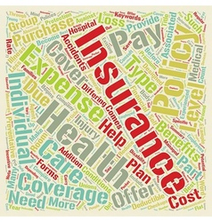 Health insurance text background wordcloud concept vector