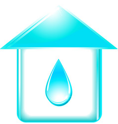 House and glossy water drop vector