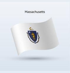 State of massachusetts flag waving form vector