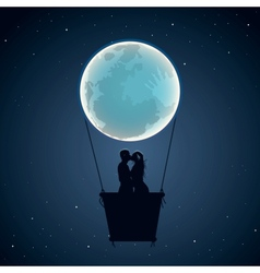 Lovers by hot air balloon in moon form vector image