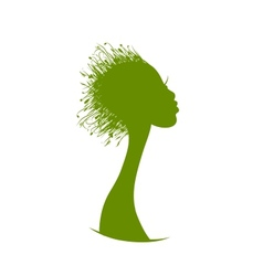 Organic hair care concept grass on female head vector image