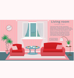 Website banner of living room interior vector