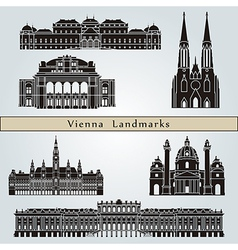 Vienna landmarks and monuments vector